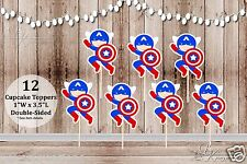 Set of 12 Boy Captain America Inspired Double Sided Cupcake Toppers