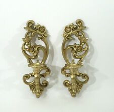 """Vtg Pair Syroco Gold Gilt Burwood Homco 15"""" tall Wall Candle Stick Sconce 4118"""