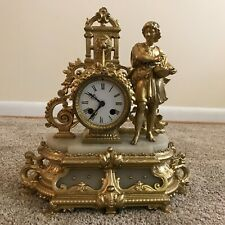 Antique Vicenti Italian Gilt Alabaster Figural Clock as-is for parts broken