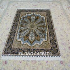 YILONG 4'x6' Handmade Silk Carpet Antistatic Family Room Oriental Rug YWX113A