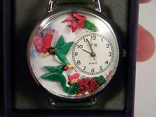 Whimsical Watches Unisex Hummingbird Floral Garden Watch NOS NIB