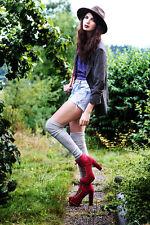 Jeffrey Campbell Lita EVEREST Brick Red Nubuck Leather Stunning NWOB Size 7