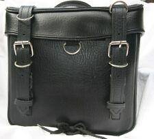 Universal Motorcycle Saddle Bag Side Luggage, PU Leather, Black, NEW