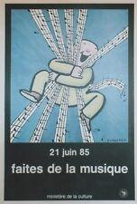 """""""FAITES DE LA MUSIQUE 21 JUIN 85"""" Affiche originale entoilée T.UNGERER 43x64cm"""