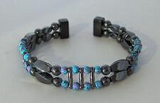 MAGNETIC  HEMATITE & PICASSO  BRACELET * Dbl Str Handpainted beads * Black Clasp