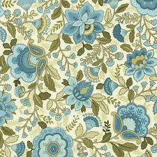 Emma-C1736 Jacobean Floral Aqua Timeless Treasures Price is for 19 inches