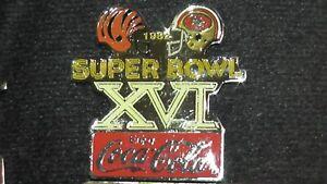 1985 Coca Cola NFL Super Bowl XVI Lapel Hat Pin Bengals vs SF 49ers 1982 Helmets