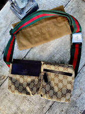 Authentic Gucci Monogram Mini Sherry Supreme Web Belt Bag Fanny Pack Bum Pouch🌺