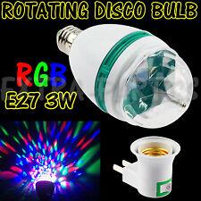 3W E27 RGB CRYSTAL MAGIC BALL ROTATING LED STAGE LIGHT BULB DISCO PARTY + PLUG