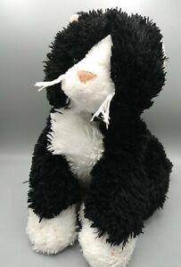 "Animal Alley Tuxedo Black White Kitty Long Fur Cat Plush Stuffed Toy Kitten 16"""