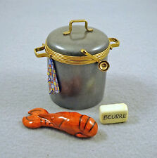 NEW FRENCH LIMOGES TRINKET BOX LOBSTER & BUTTER IN LOBSTER POT TOWEL LADLE CLASP