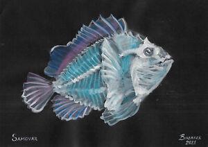 original painting A4 145PK art samovar acrylic Modern animal fish Signed 2021