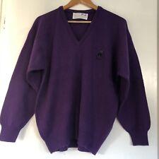 Pringle Sports Nick Faldo V Neck Golf Jumper Wool Size S Small Purple Mens