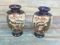 Antique Matching Pair of Vintage Japanese Satsuma Vases Blue Gold