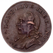 """1795 Great Britain 1/2 Penny Token """"Long Live the King"""" XF Condition"""