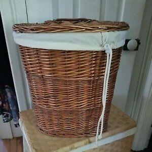 "Vintage Wicker Hamper Laundry Basket w Lid & Liner 15"" x 12"" x 17"" tall Storage"