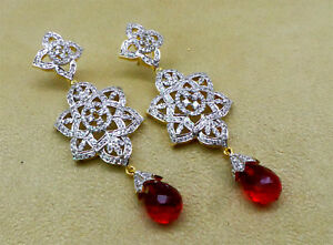 Cubic Zirconia Close out Sale Designer Red Earrings Set 26 RE 29