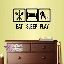 Vinyl Decal Eat Sleep Play Ice Hockey Player Kids Teen Boys  Wall Sticker 2455