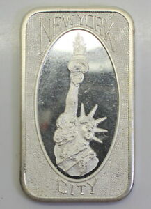 """""""NEW YORK CITY"""" MOTHER LODE MINT ONE TROY OUNCE .999 FINE SILVER BAR, MLM-15V1"""