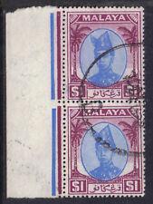 Malaya TRENGGANU 1949 2 x $1 Bleu & Violet Sultan Ismail SG 85 utilisé R marge U