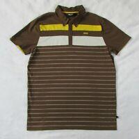 Men's MINI Cooper Polo Short Sleeve Shirt Brown & Yellow Striped Men's XXL