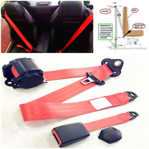 Retractable 3 Point Car Safety Seat Lap Belt & Diagonal Belt Kits Red Universal