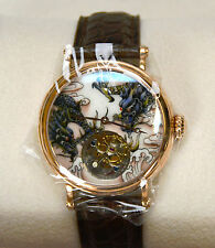 Real Flying Tourbillon Gold Wristwatch with Painted Enamel Double Dragon Dial