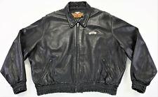 mens harley davidson leather bomber jacket 3XL XXXL black stretch waist bar zip