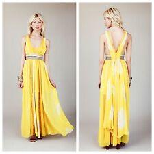 $450 Free People New Romantics Yellow Tie Dye Maxi Dress Wedding Bridal