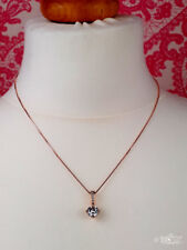 Ladies Girls Rose Gold Valentines Pendant Necklace Cubic Zirconia Gold Colour