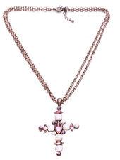 Señoras impresionante Bronce/Crema/Rosa Cruz Collar Con Cuentas declaración de piedra (Zx61)