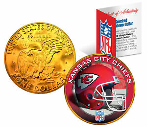 KANSAS CITY CHIEFS NFL 24K Gold Plated IKE Dollar US Coin * NFL LICENSED *