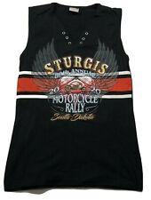 80th Annual Sturgis South Dakota Women's Graphic Tank Top Large Black Cotton