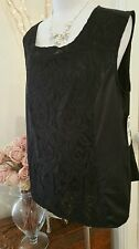 INC. design Plus 1X Black lace front poly top New NWT!  Rrp  $69 stunning!