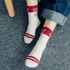 1Pza Unisex Cool Letra Estampado Calcetines Divertido Diseño Algodón Blanco