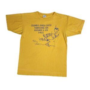 Vintage 70s Champion Blue Bar 1978 T Shirt M Ohio Jewish Thanksgiving Run Yellow