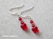 Rojo Brillante Cristales Swarovski Mariposa & Sterl Plata Hecho a Mano Pendientes