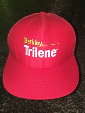 Men's NWOT BERKLEY TRILENE Fishing Line Adj Snap Red Mesh Back Hat/Ball Cap H29
