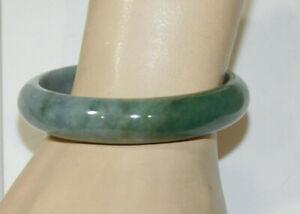 """Vintage Carved Green Jade Stone 13 mm Round 7"""" Bangle Bracelet 50.7 grams 12d 4"""