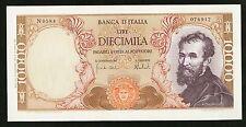 "ITALY BANCA D'ITALIA 1973 ""MICHELANGELO"" 10,000 LIRE BANKNOTE, GEM UNCIRCULATED"