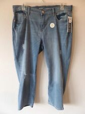 Old Navy Womens 16 Reg Straight Crop Destroyed Hige Med Wash Stretch Jeans New