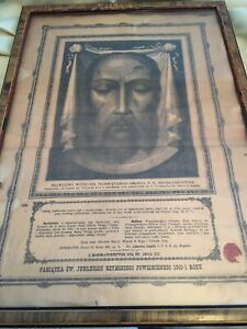 Authentic Catholic Polish Relic: The Image Of Jesus, The Veil Of St. Veronica