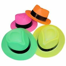 12 Neon Colour Plastic Gangster Party Costume Hats