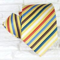 Cravatta uomo seta Giallo righe Jacquard Made in Italy business / matrimoni