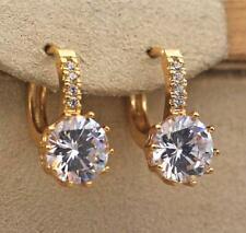 18K Gold Filled- 9mm Round White Topaz Gems Flower Zircon Hoop Women Earrings DS