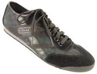 COACH YOLANDA Sneakers Womens 9 M Black Jacquard Print Suede Leather Shoes