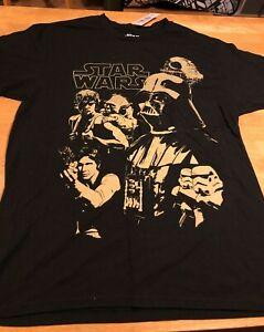 Star Wars T Shirt Black Size Large Yoda Luke Skywalker Darth Vader Han Solo New