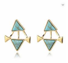Ear Studs Earrings Turquoise u Gold Coloured Triangles Symbol of the Femininity