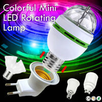 3W E27 RGB Crystal Ball Auto Rotating LED Stage Light Bulb Disco Party DJ Lamp