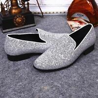 Oxfords Men Sequin Silver Slip on loafers Shoes dress Maccassin Casual Prom Chic